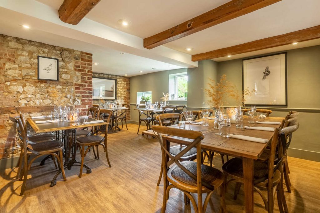 Tables in the Grey Partridge Room restaurant