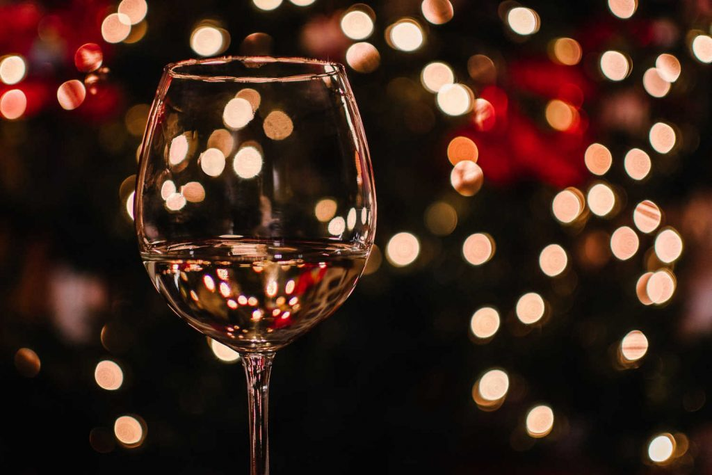 Glass of white wine at Christmas